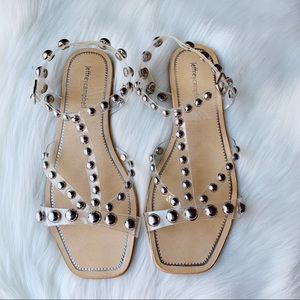 Jeffrey Campbell Amaryl Silver Stud Clear Sandal